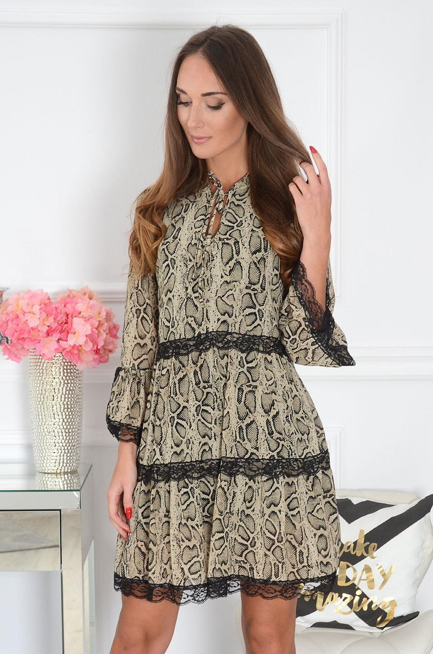 Sukienka z falban wężowy wzór beżowa Milagros Rozmiar: UNI