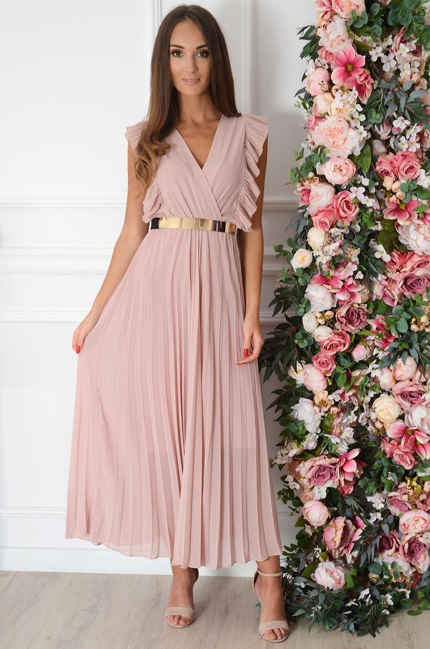 Sukienka maxi plisowana z falbankami pudrowy róż Verda