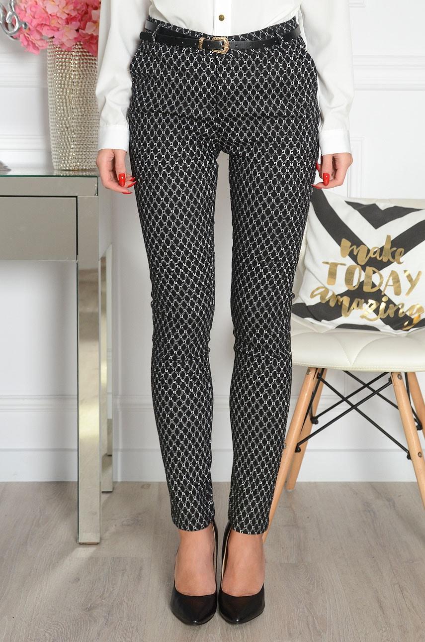 Eleganckie spodnie w biały wzór czarne Freesia Rozmiar: S