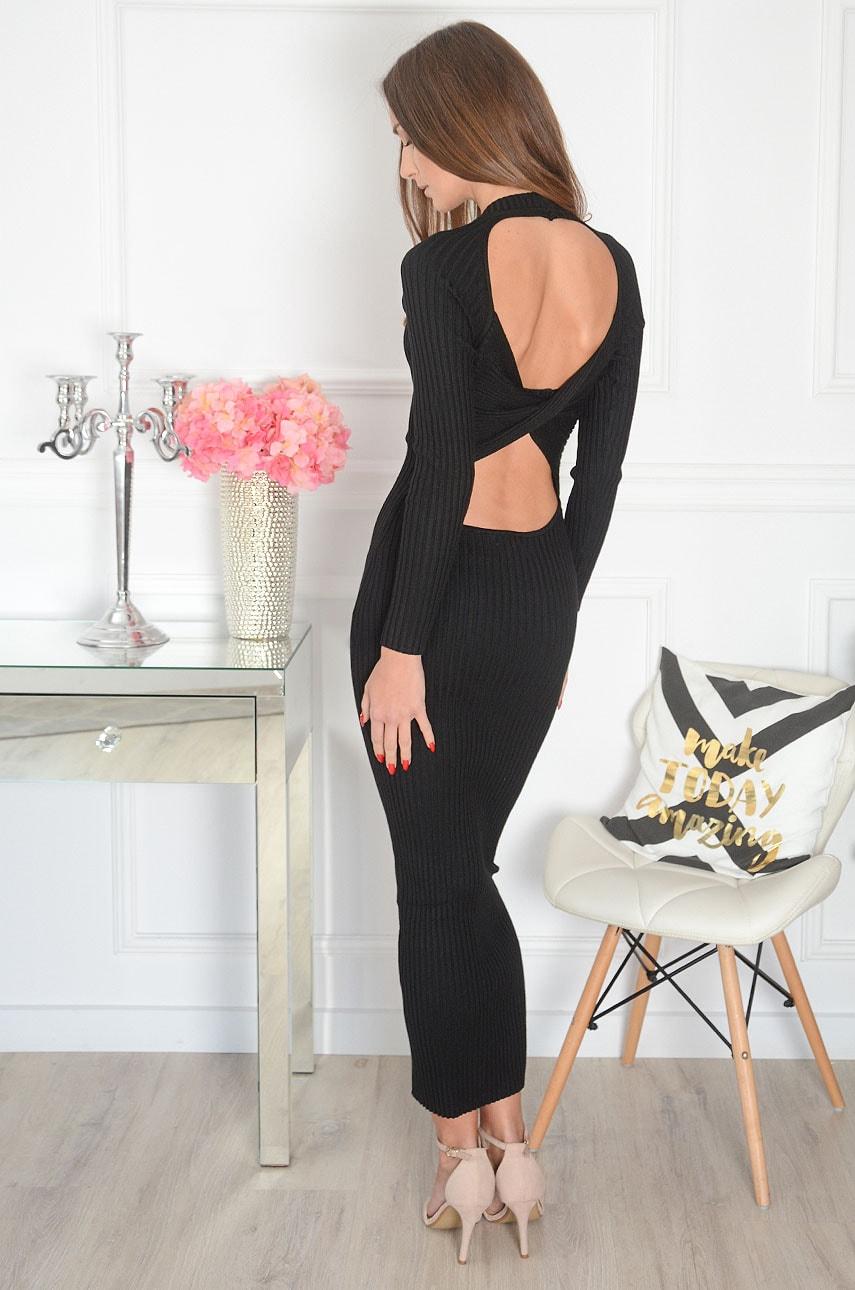 Sukienka maxi prążkowana przeplatany tył czarna Friste Rozmiar: UNI