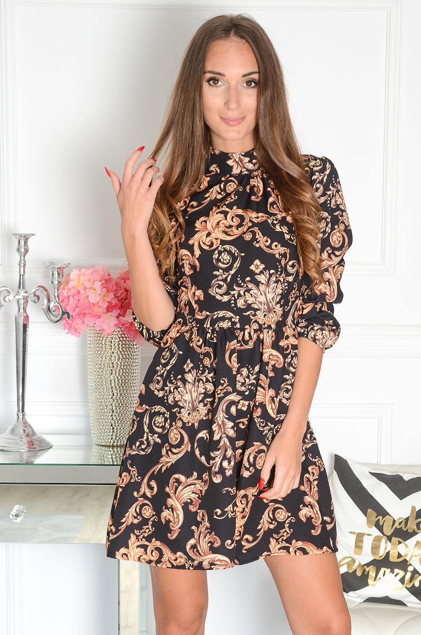 Sukienka w złote ornamenty czarna Chloe