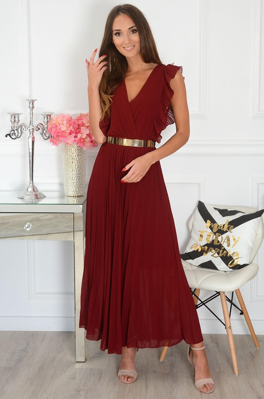 Sukienka maxi plisowana z falbankami burgund Verda Rozmiar: UNI