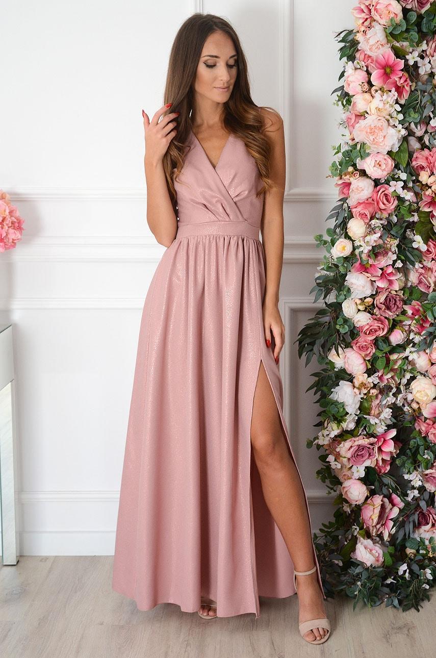 Sukienka maxi błyszcząca retro róż Lukrecja