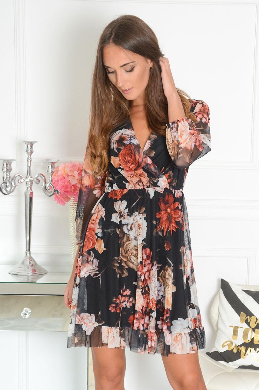 Sukienka z siateczki z falbanką w kwiaty czarna Belen