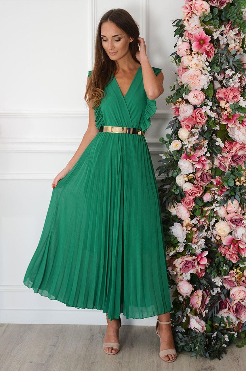 Sukienka maxi plisowana z falbankami zielona Verda