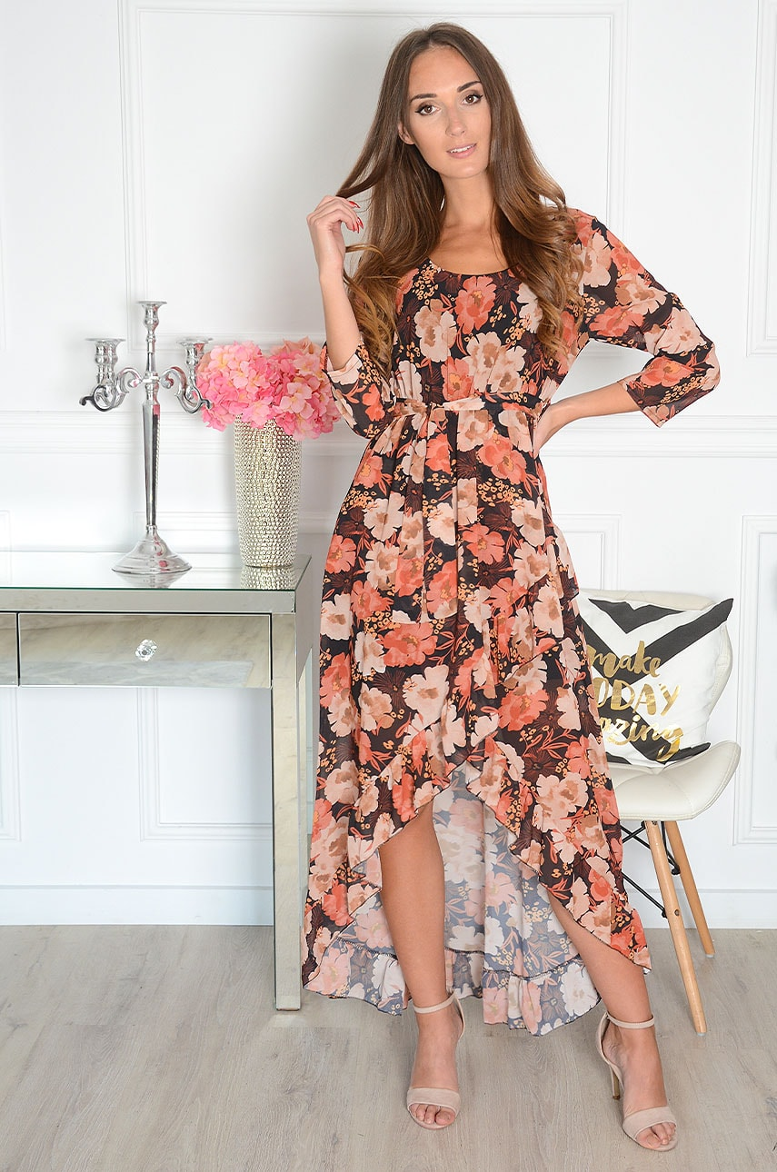 Sukienka maxi szyfonowa asymetryczna w jesienne kwiaty Assime Rozmiar: UNI