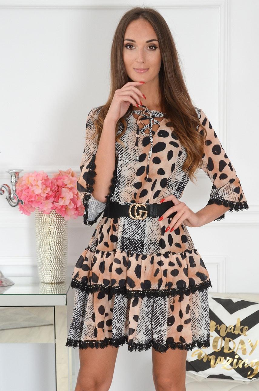 Sukienka z falban sznurowany dekolt animal print beż Balta Rozmiar: UNI