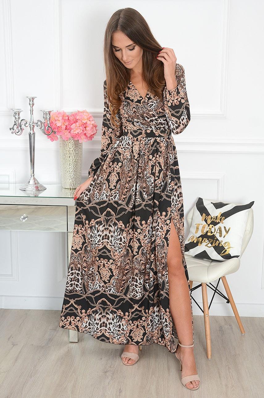 Sukienka maxi w łańcuchy i wzory długi rękaw czarna Lukrecja Rozmiar: M