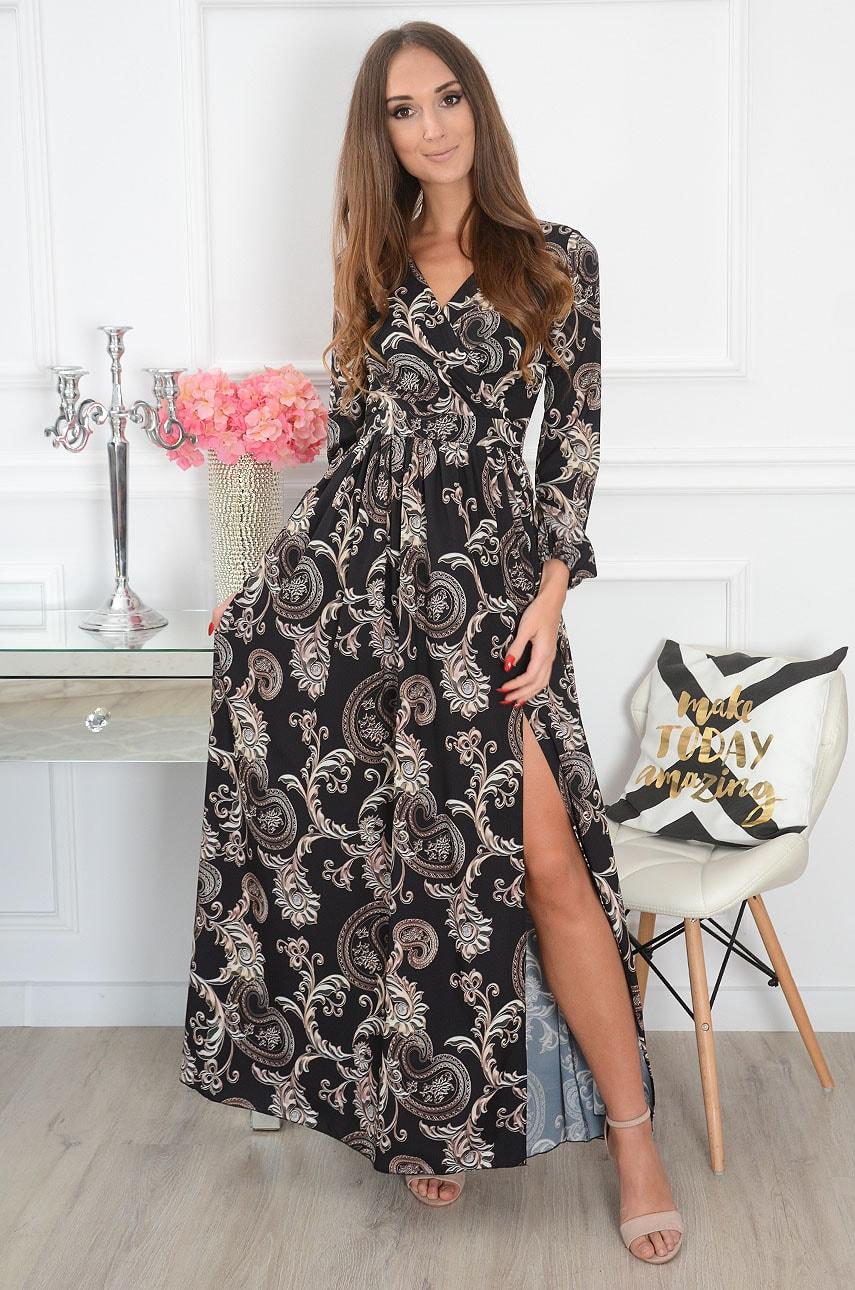 Sukienka maxi w ornamenty długi rękaw czarna Lukrecja Rozmiar: S