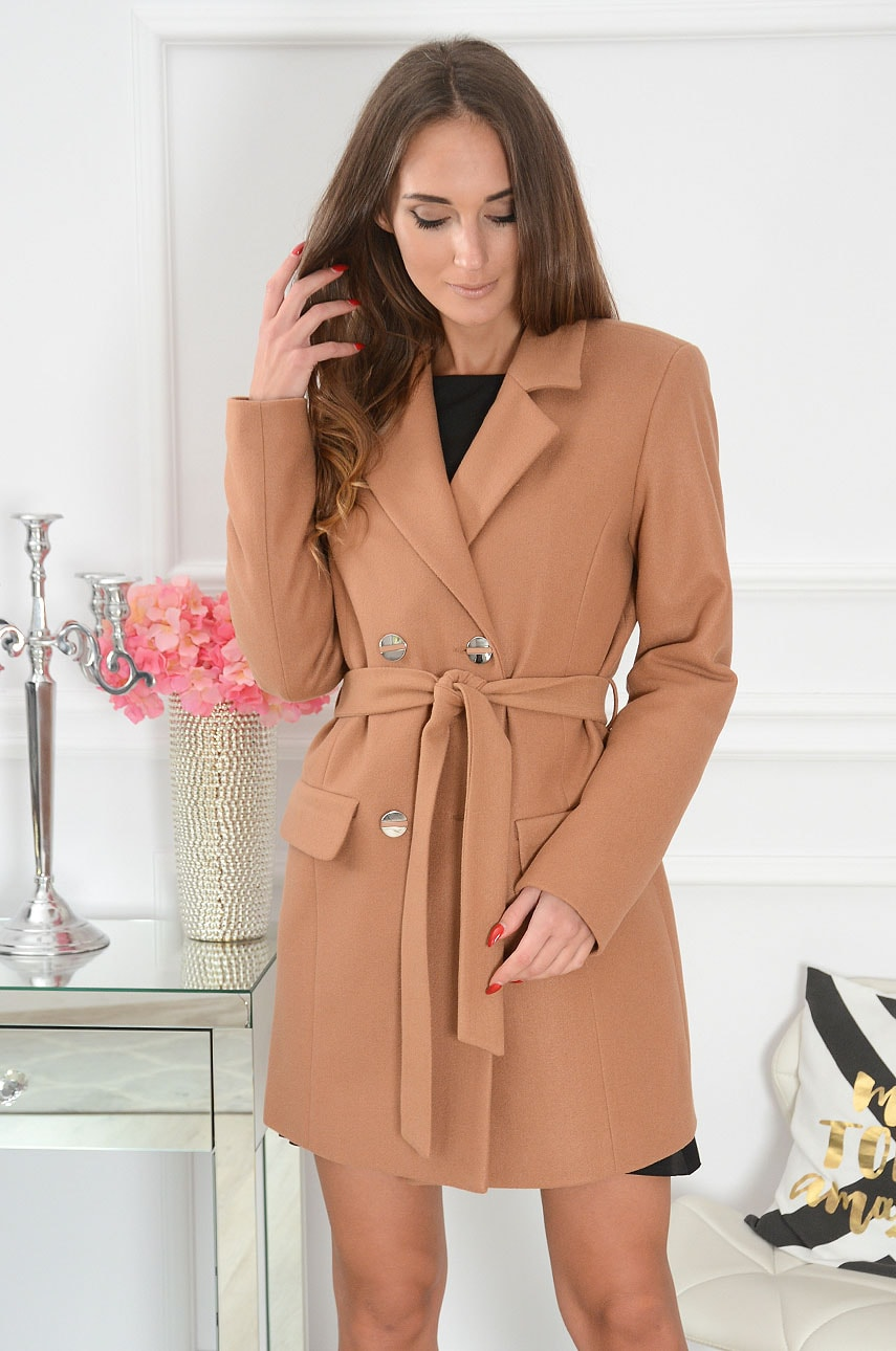 Elegancki płaszcz dwurzędowy kamel Boton Rozmiar: M