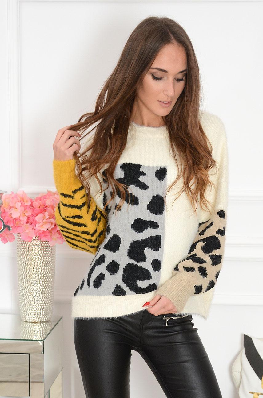 Sweterek oversize animal print kremowy Savan Rozmiar: UNI