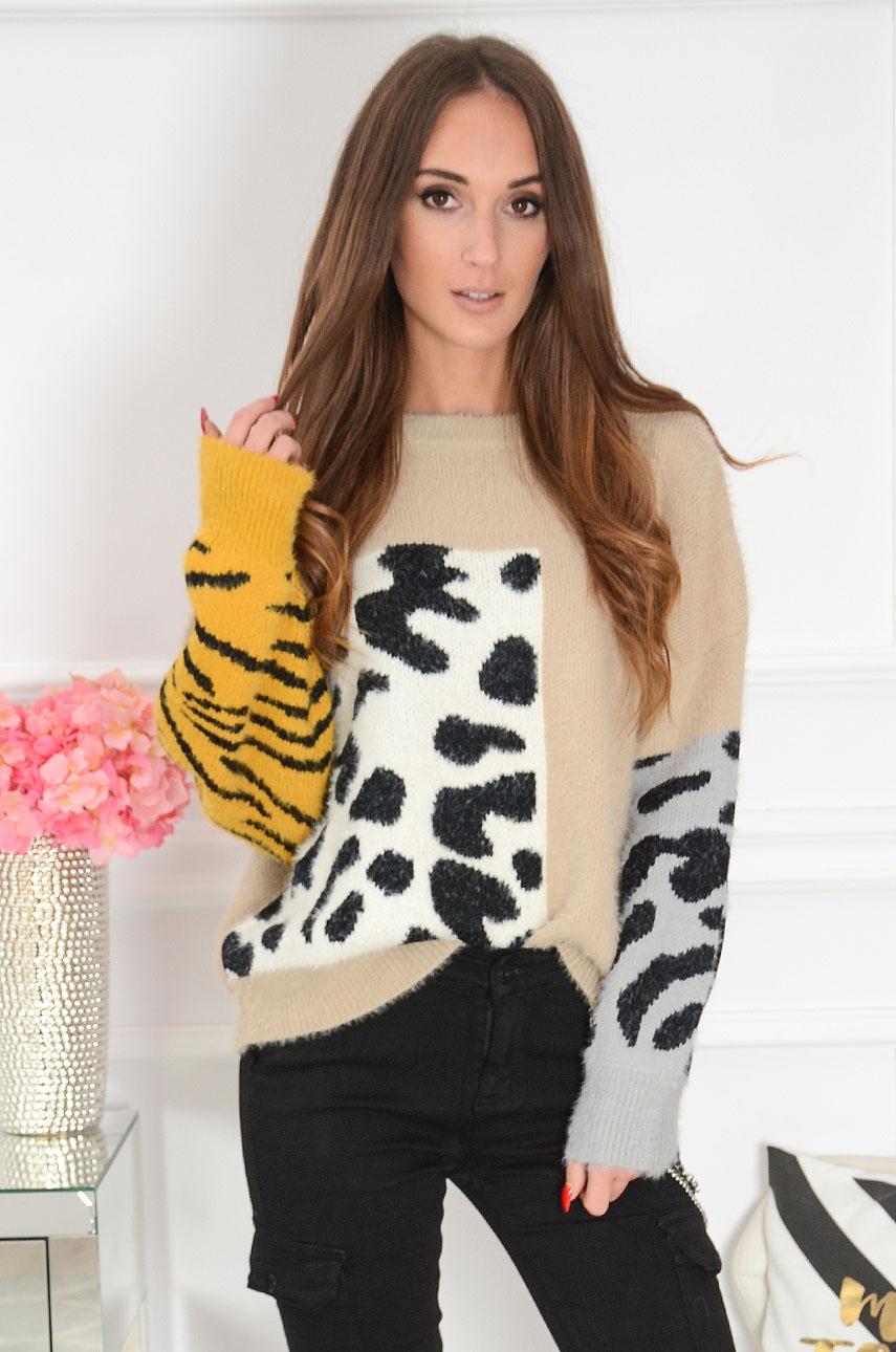 Sweterek oversize animal print beż Savan Rozmiar: UNI