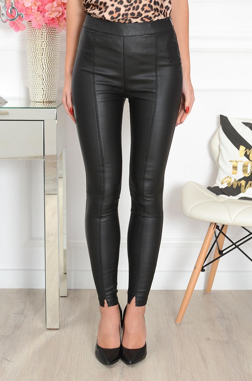 Spodnie legginsy woskowane z przeszyciami czarne Izar Rozmiar: XS