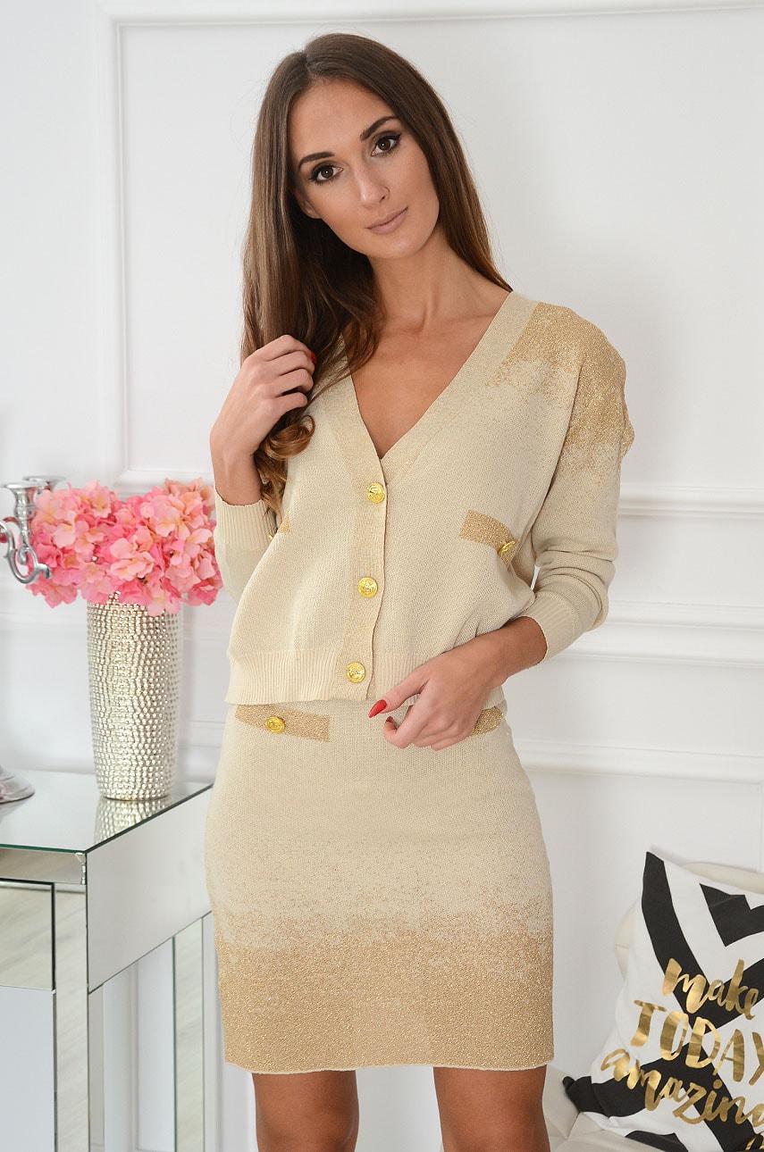 Komplet złocony sweterek+spódnica beż Minestra Rozmiar: UNI