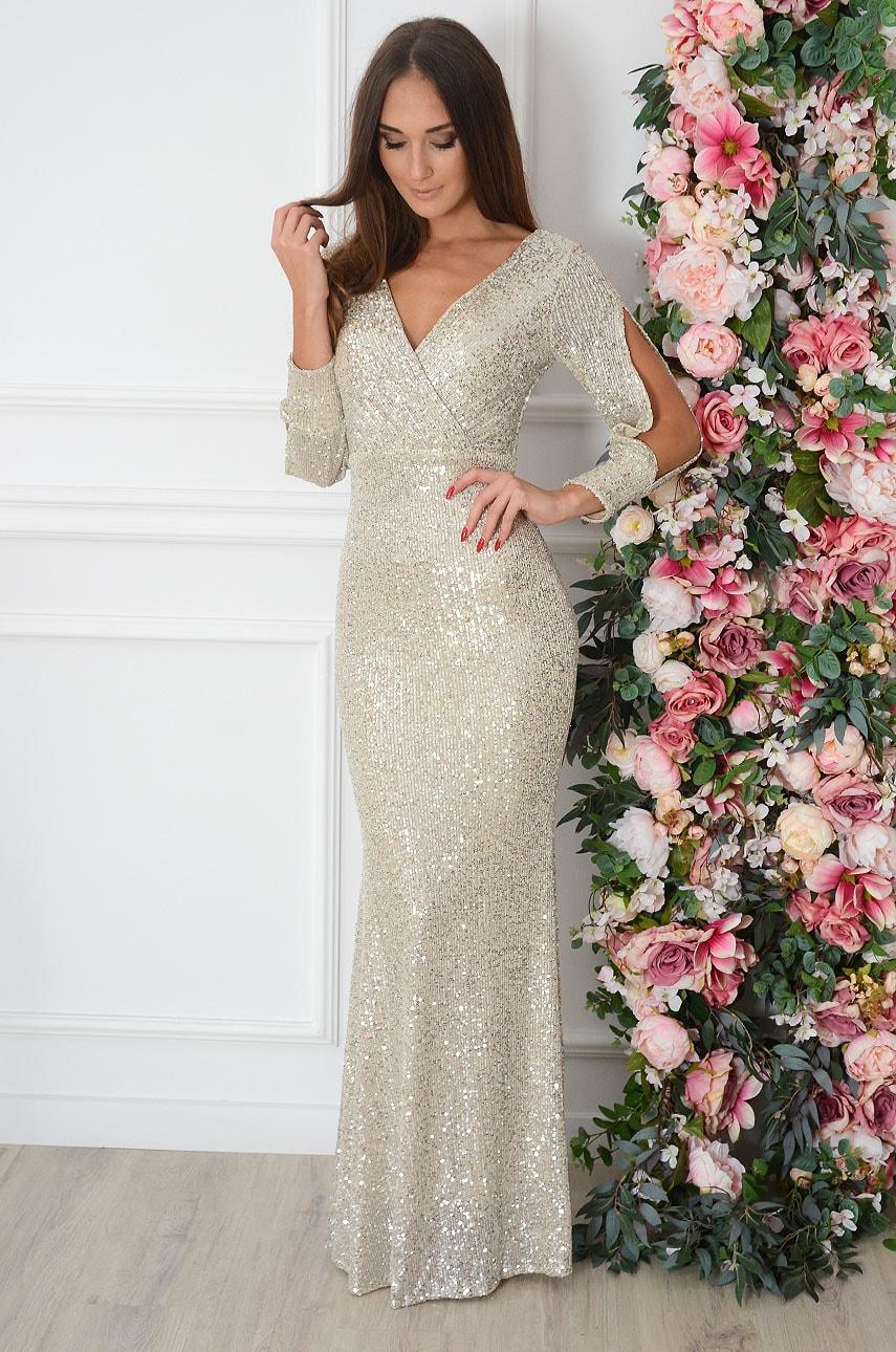 Sukienka maxi cekinowa rozcięte rękawy beż Diamante Rozmiar: XL