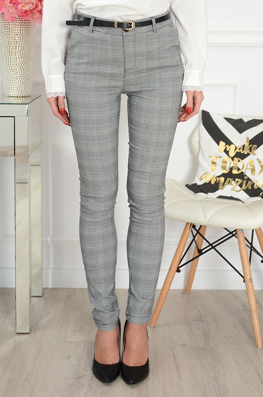 Eleganckie spodnie w kratę szare Freesia Rozmiar: XL