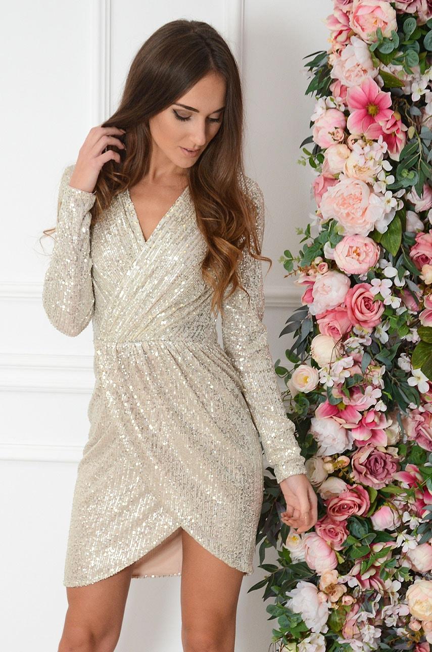 Sukienka cekinowa kopertowa beżowa Aria Rozmiar: M