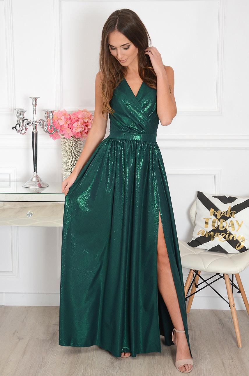 Sukienka maxi błyszcząca ciemna zieleń Lukrecja
