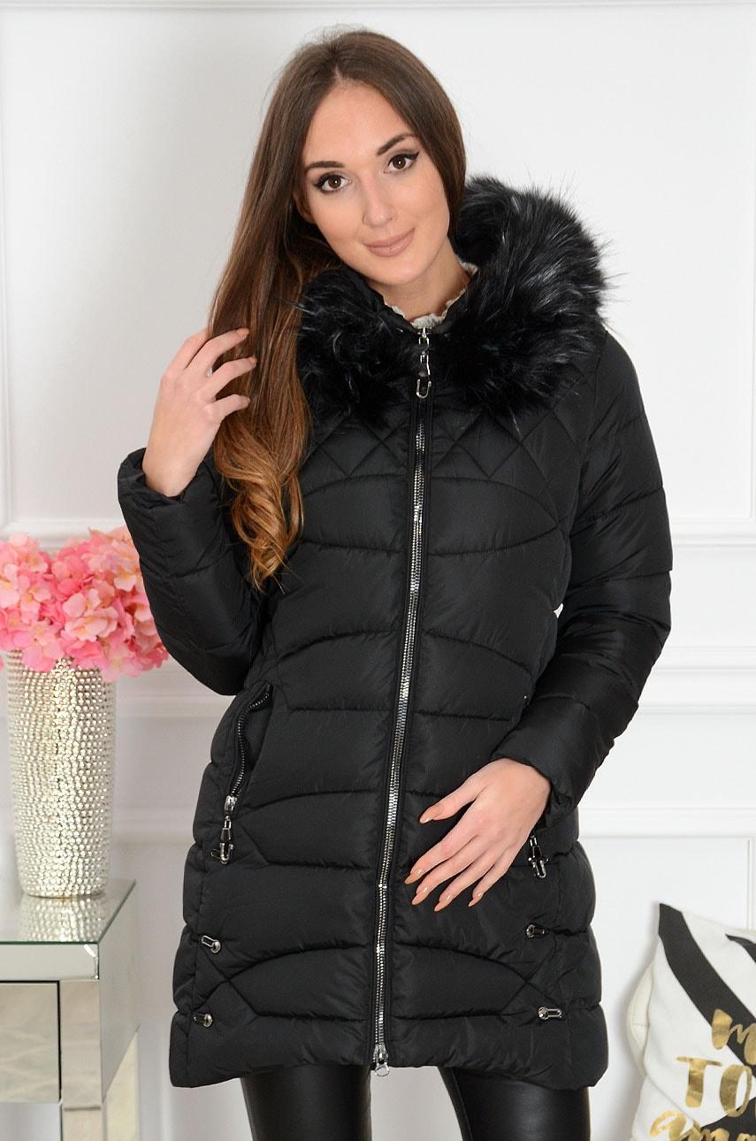 Długa kurtka pikowana z metalowymi ozdobami czarna Bombaj Rozmiar: L