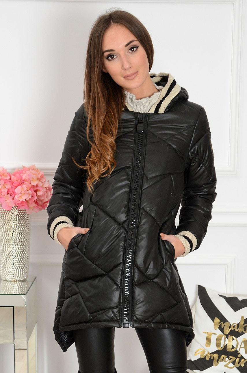 Długa kurtka pikowana na gruby zip czarna Tunis Rozmiar: S