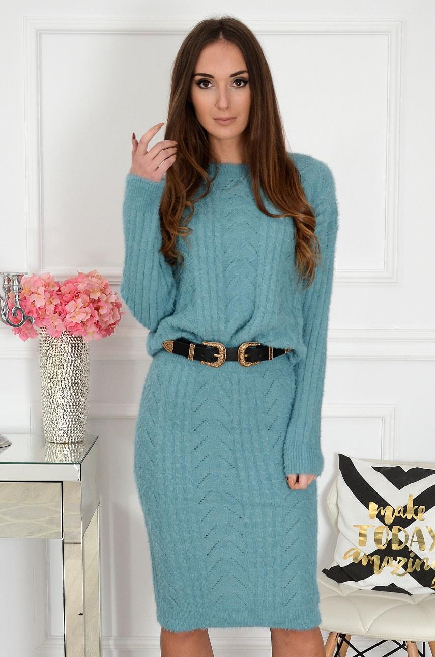 Miękki komplet sweterkowy spódnica + sweter turkus Szanghaj Rozmiar: UNI