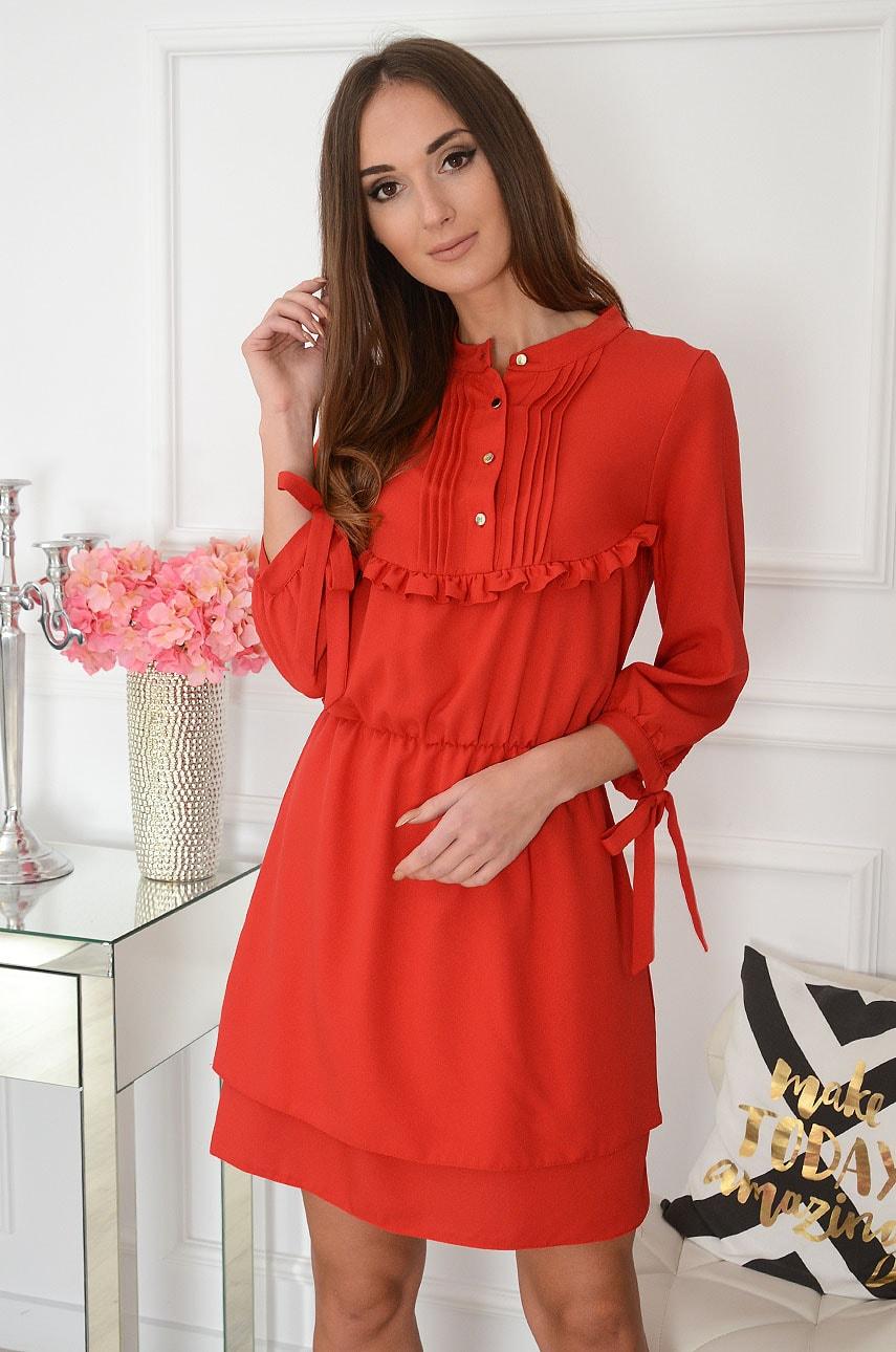 Sukienka z żabotem i falbanką czerwona Charlotte Rozmiar: S