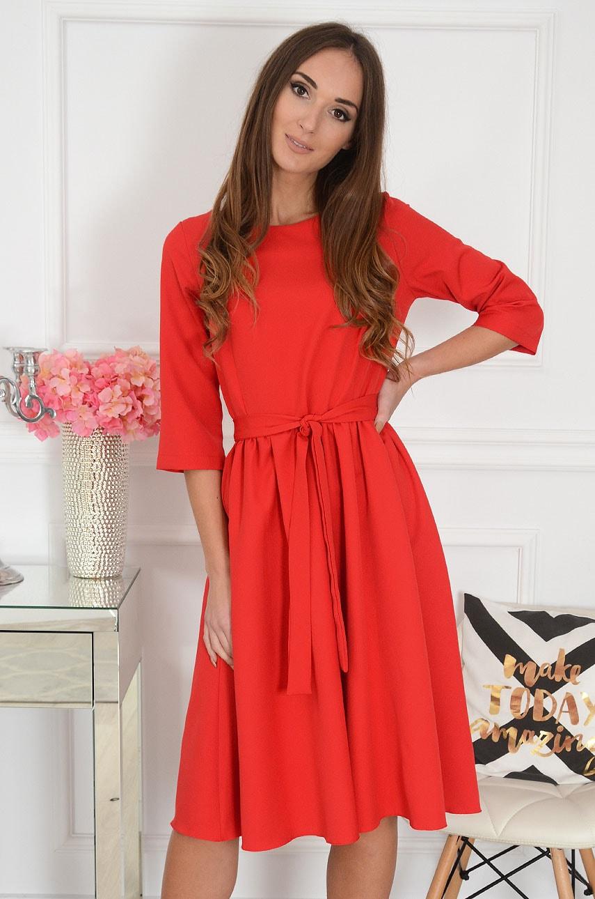 Sukienka midi rozkloszowana z wiązaniem czerwona Lille Rozmiar: XL