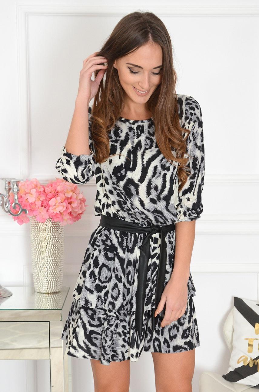 Sukienka z falbaną z wiązaniem animal print szara Dijon Rozmiar: L