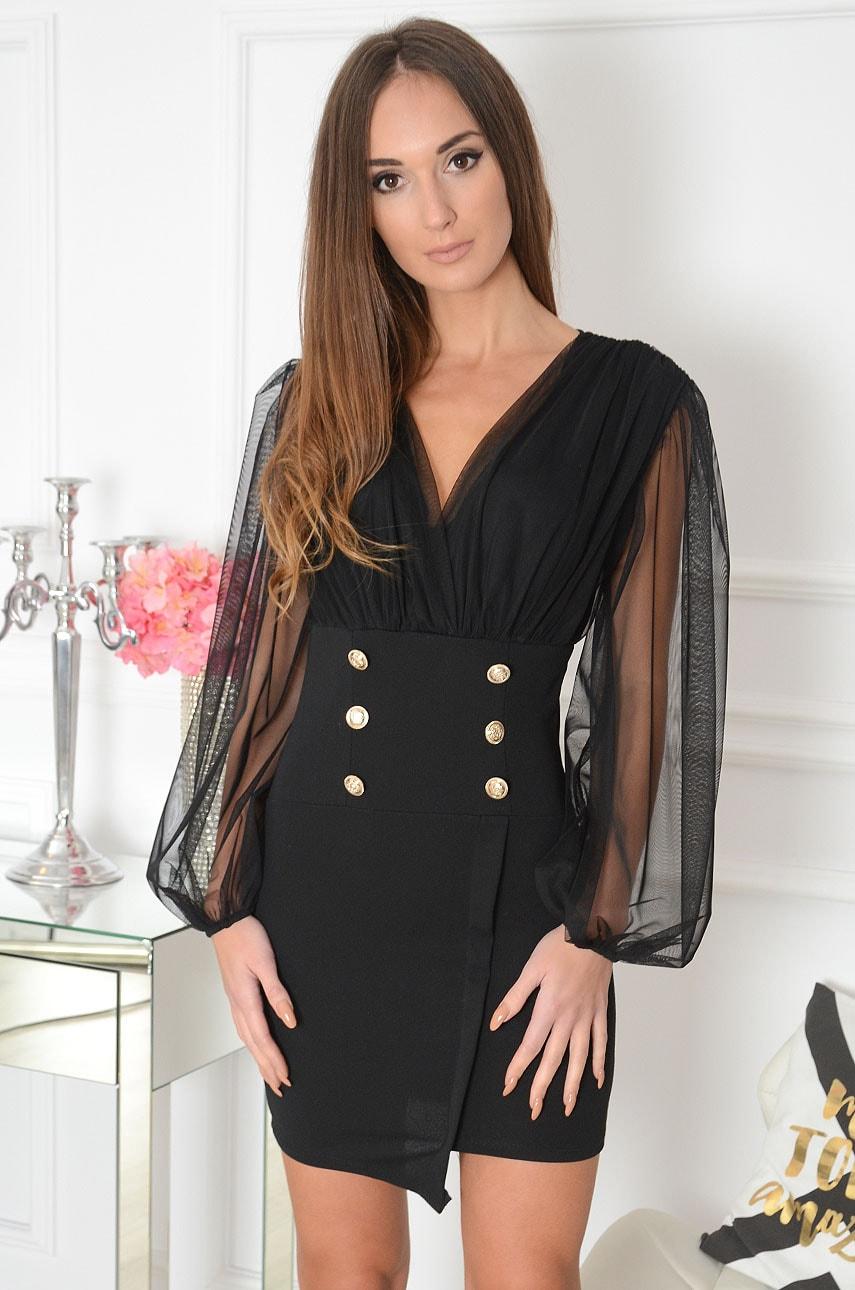 Sukienka dwurzędowa z tiulową górą czarna Tulo Rozmiar: UNI