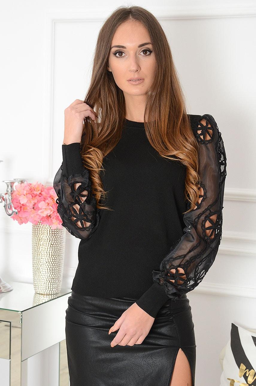 Bluzka sweterkowa tiulowe haftowane rękawy czarna Awinion Rozmiar: UNI