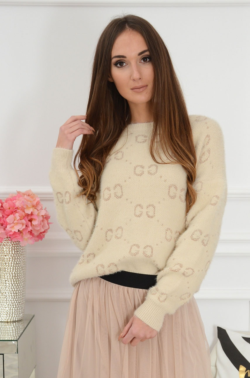 Miękki sweter w złote wzory beż Soffice Rozmiar: UNI