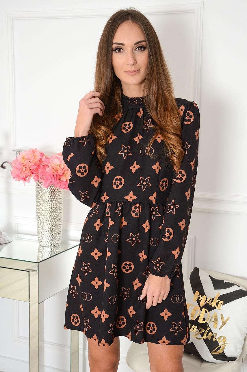 Sukienka w kamelowe wzory czarna Chloe Rozmiar: UNI
