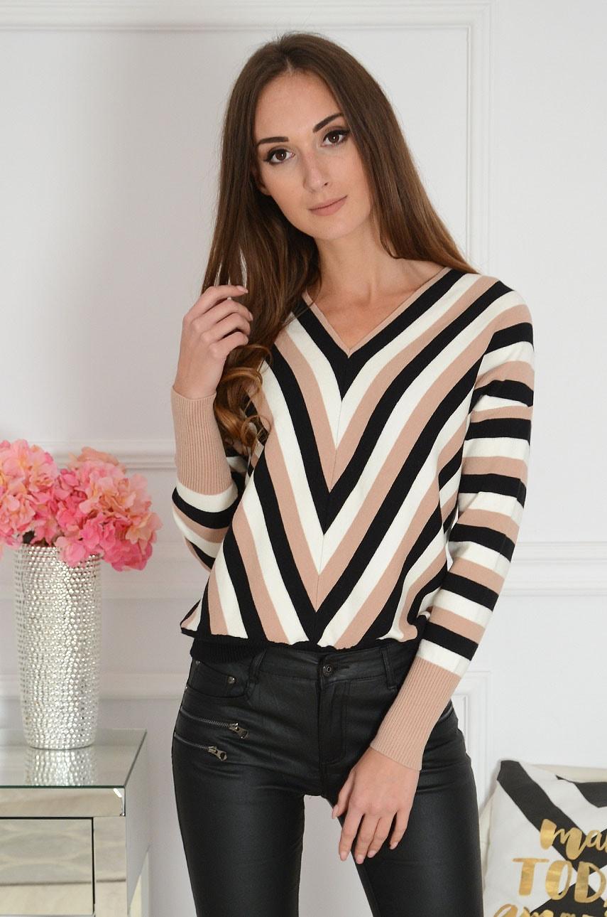 Sweterek w paski dekolt V czarno - beżowy Sevil New Rozmiar: M/L