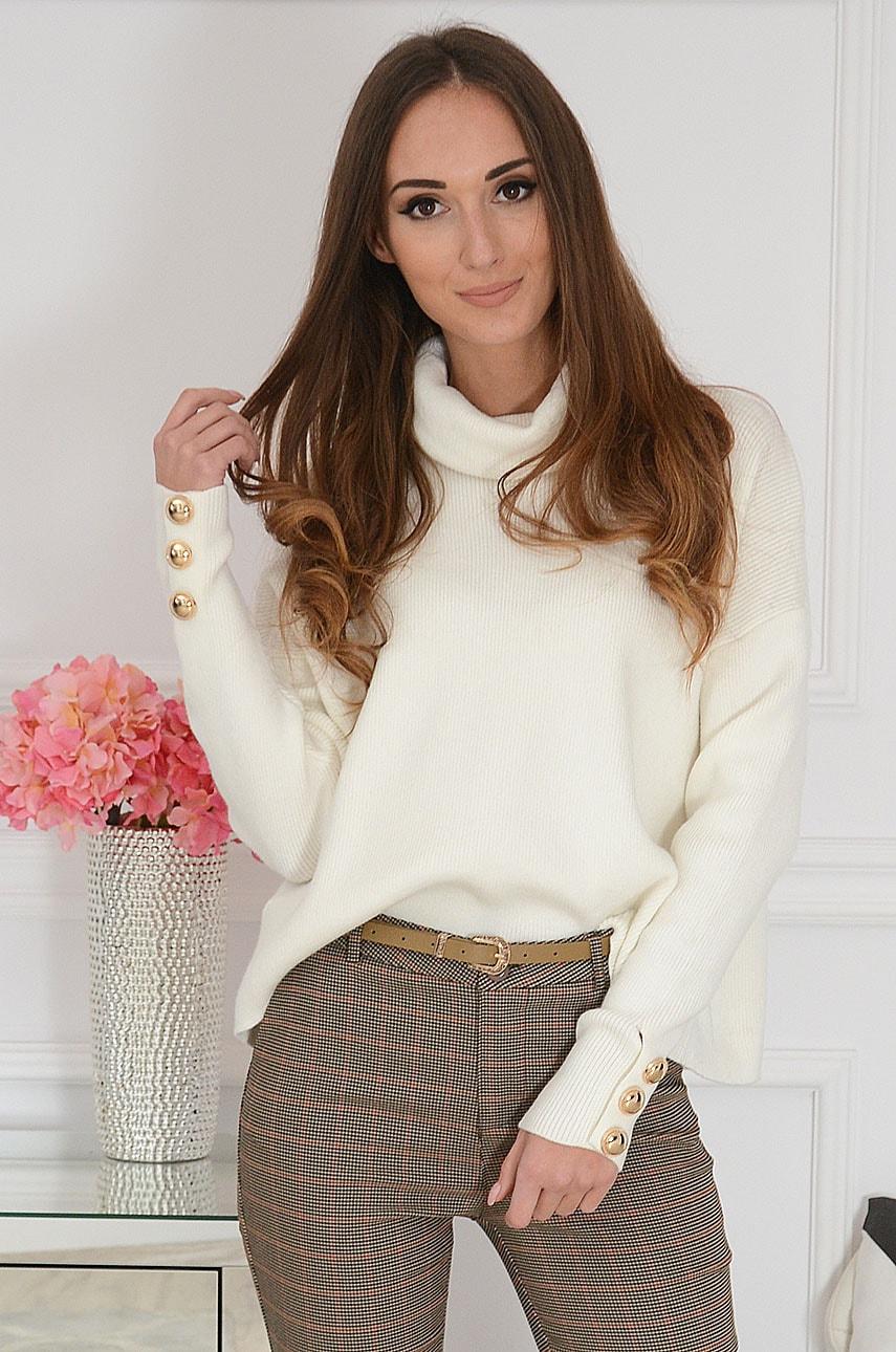 Elegancki sweter golf ze złotymi guzikami kremowy Vinales Rozmiar: UNI