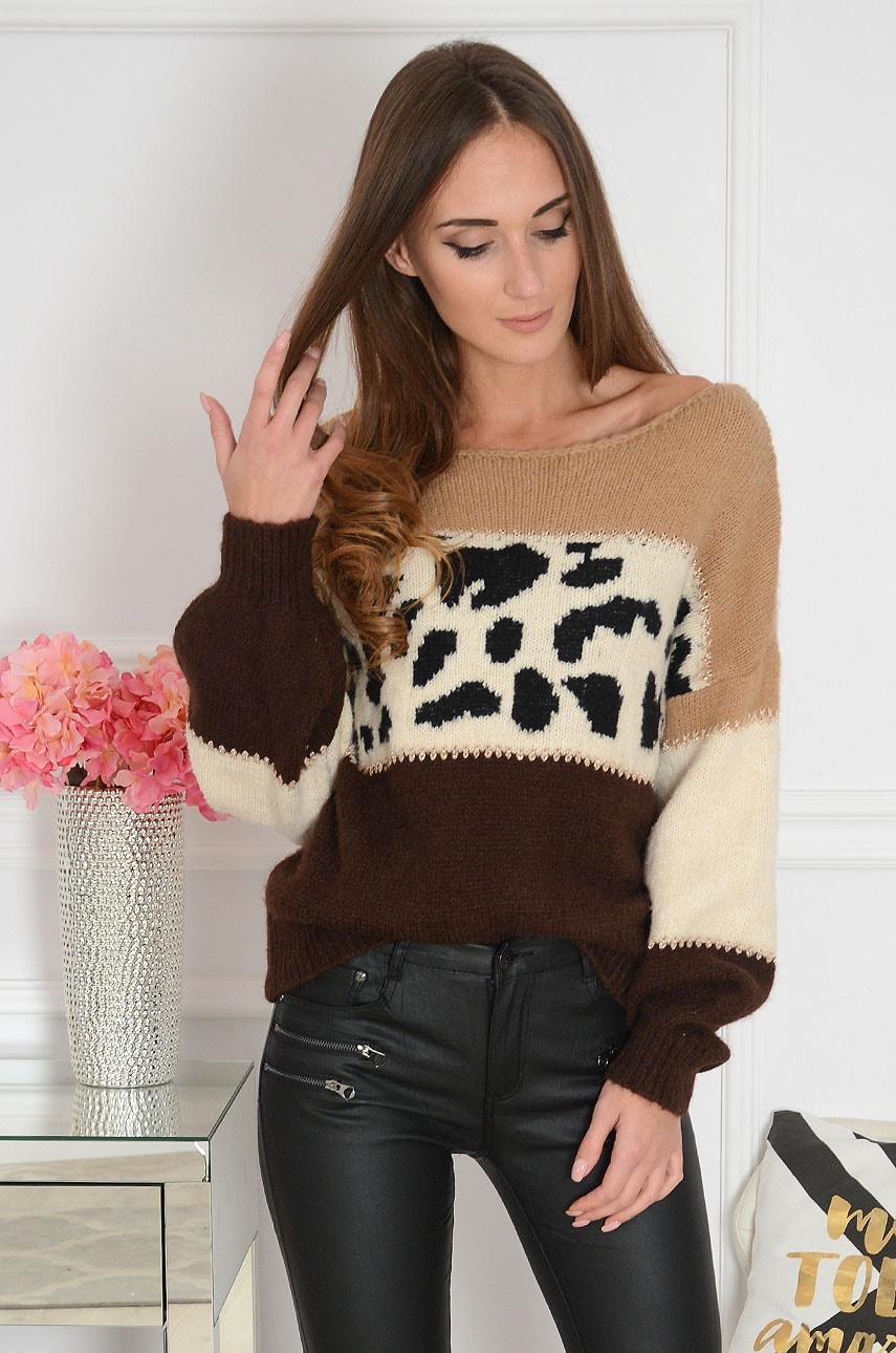 Sweter oversize animal print brązowo-beżowy Pirro Rozmiar: UNI