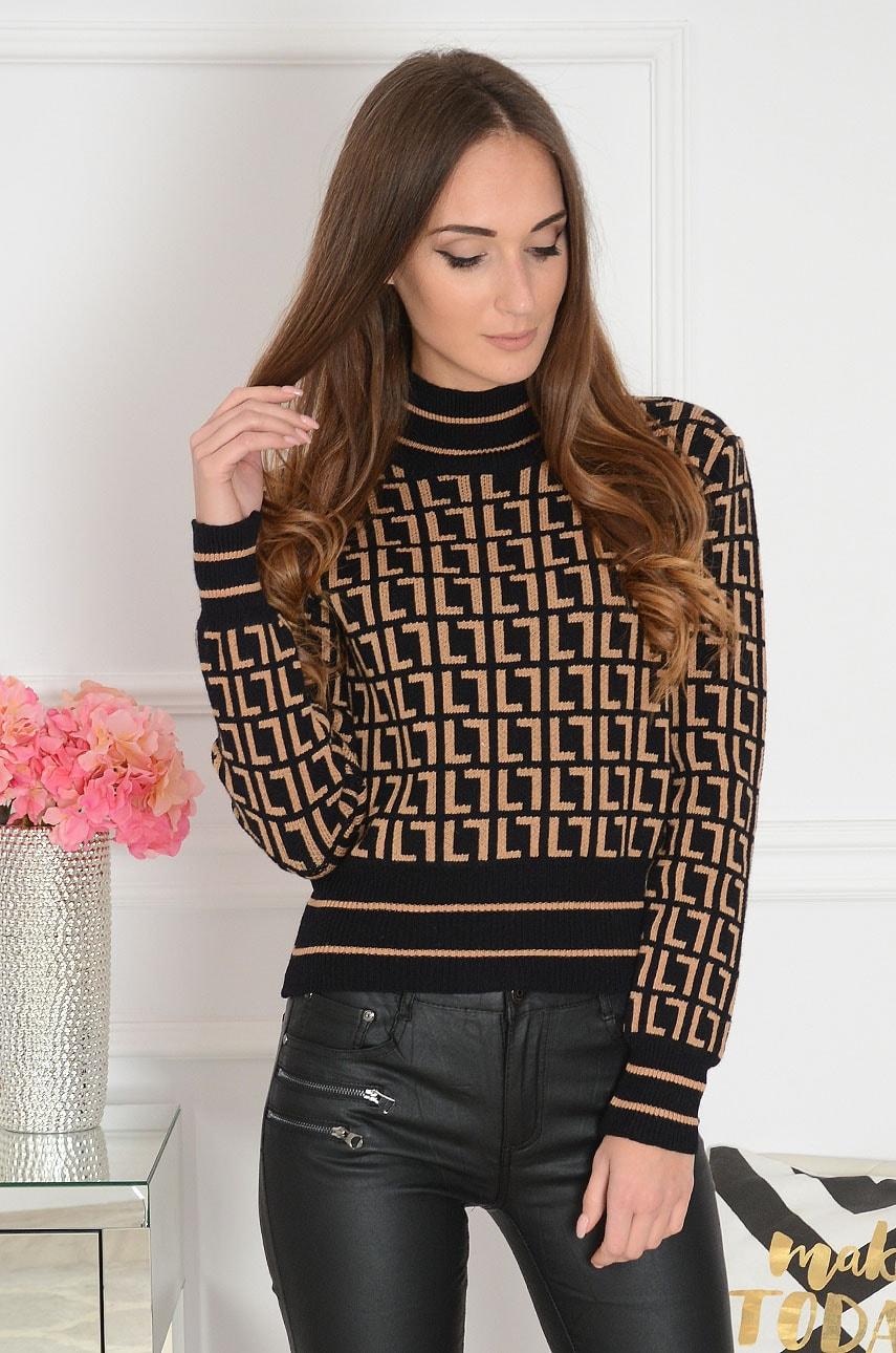 Sweter z półgolfem w kamelowe wzory czarny Elian Rozmiar: UNI