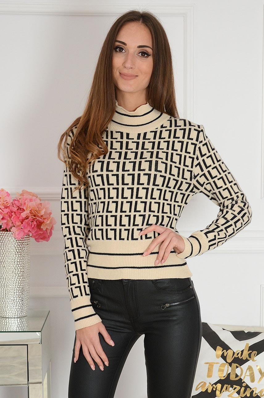 Sweter z półgolfem w czarne wzory beżowy Elian Rozmiar: UNI