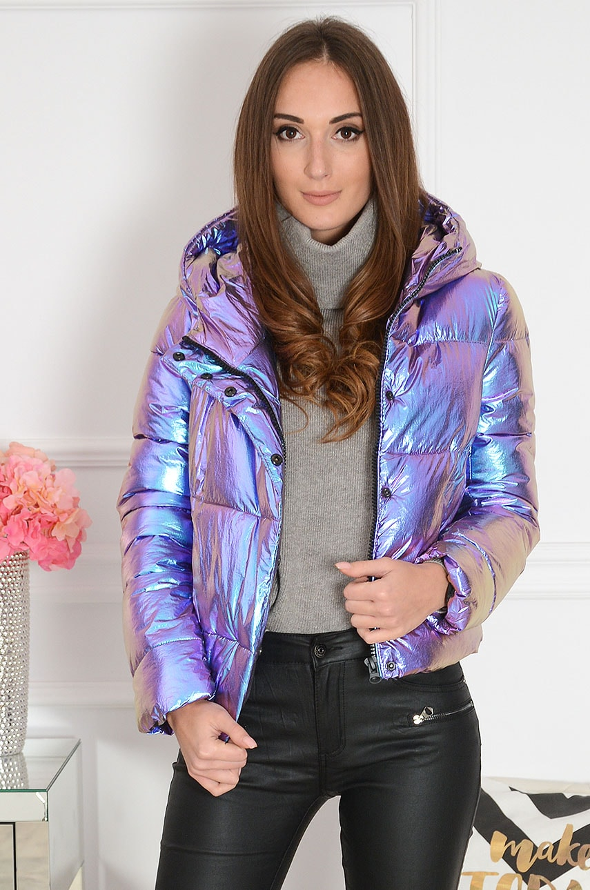 Krótka kurtka pikowana opalizujący fiolet Lilewi Rozmiar: S