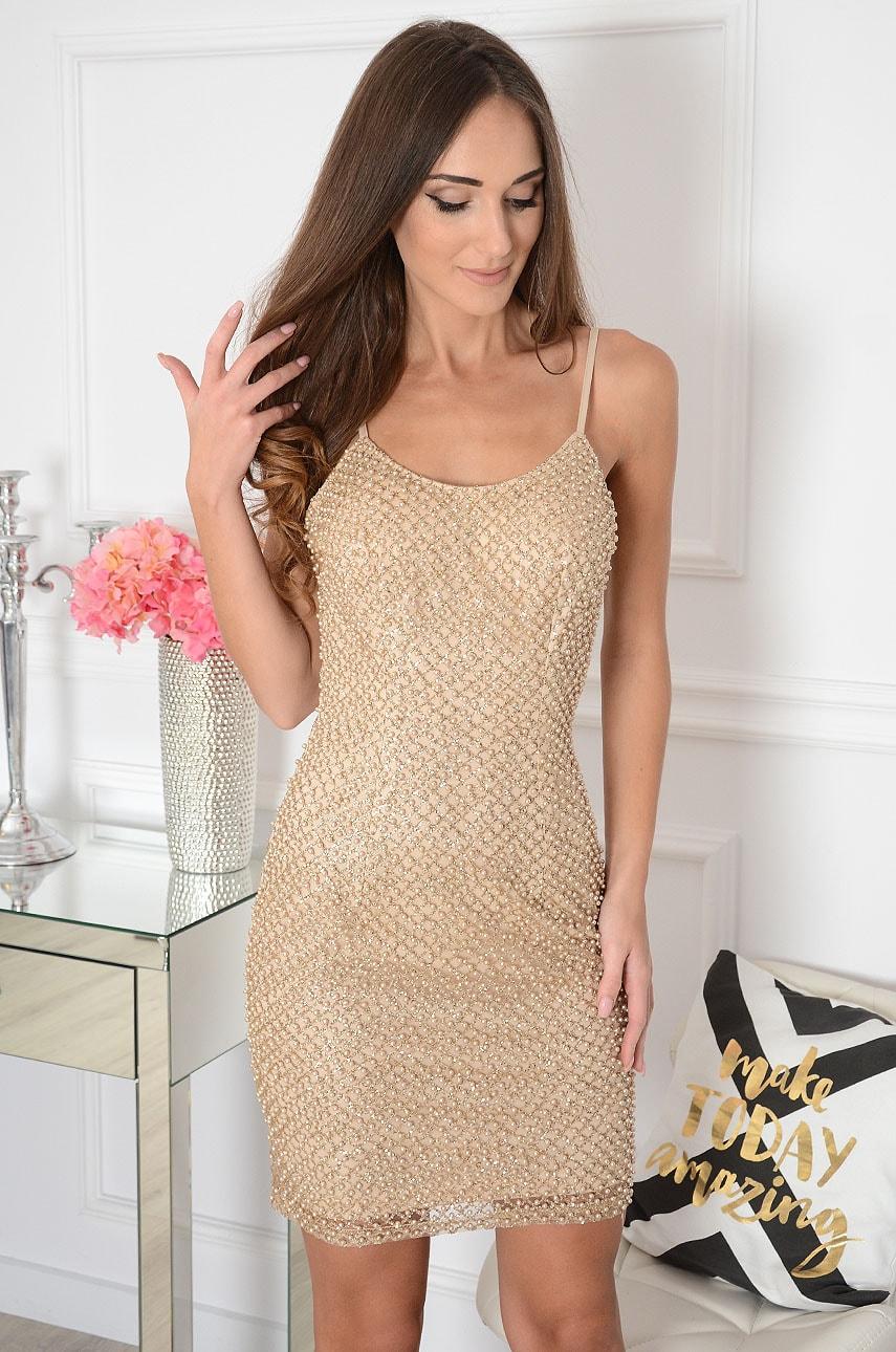 Sukienka tuba brokatowa z perłami złota Carioca Rozmiar: S