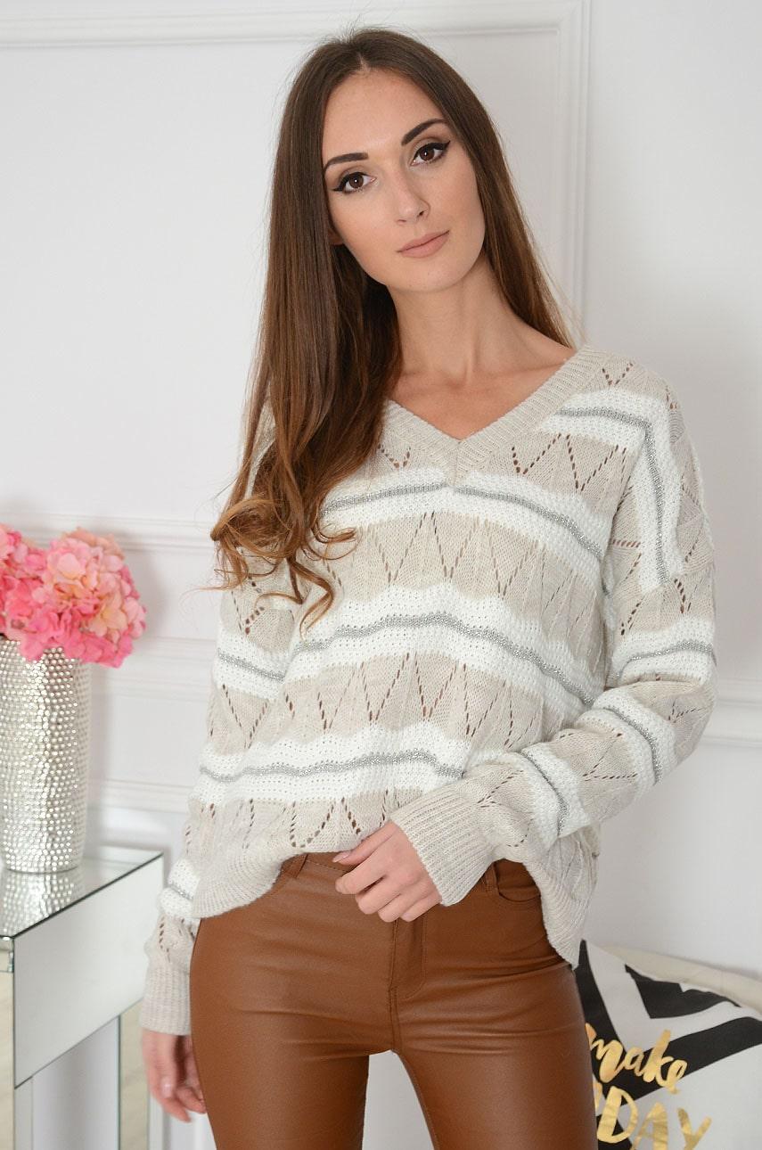 Sweter oversize dekolt V w pasy beżowo-kremowy Silbern Rozmiar: UNI
