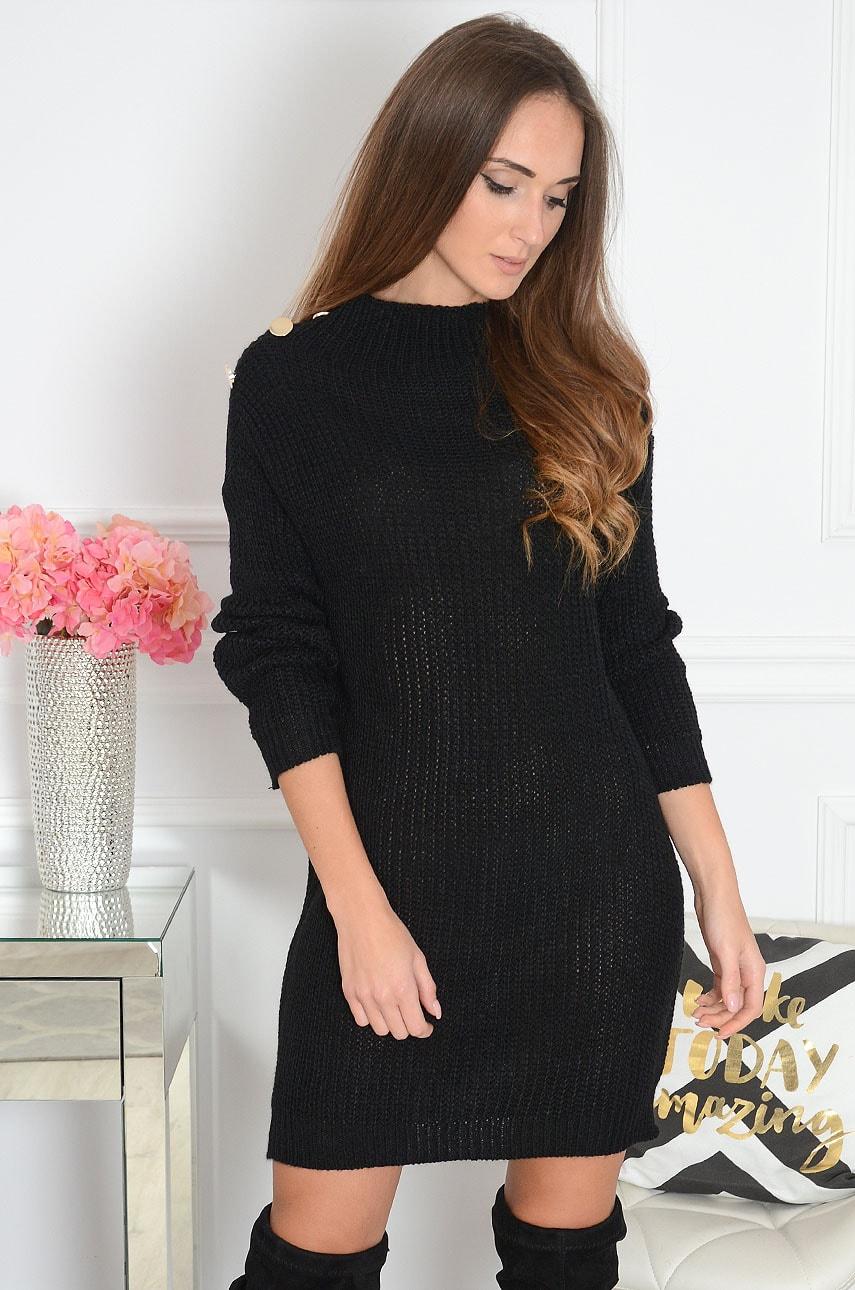 Długi sweter oversize złote guziki czarny Kamela Rozmiar: UNI