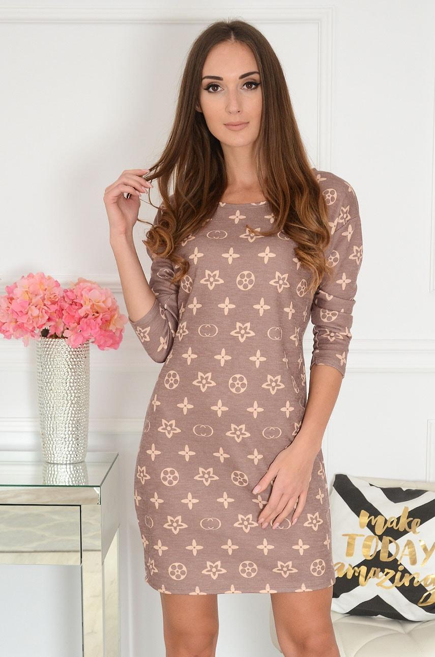 Sukienka dzianinowa w beżowe wzory brąz Lirio Rozmiar: UNI