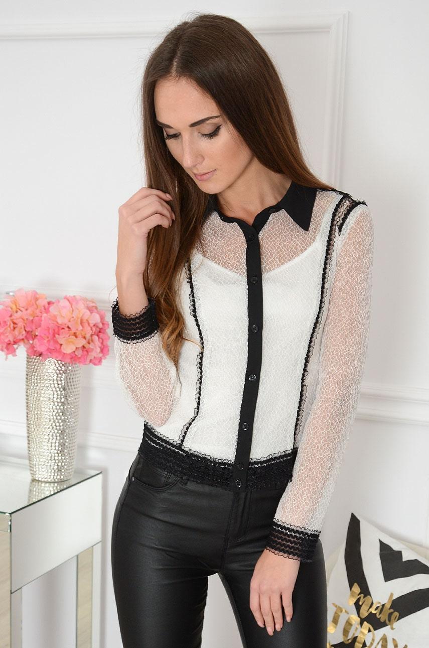 Elegancka bluzka koszulowa z czarnymi wstawkami biała Carry Rozmiar: S