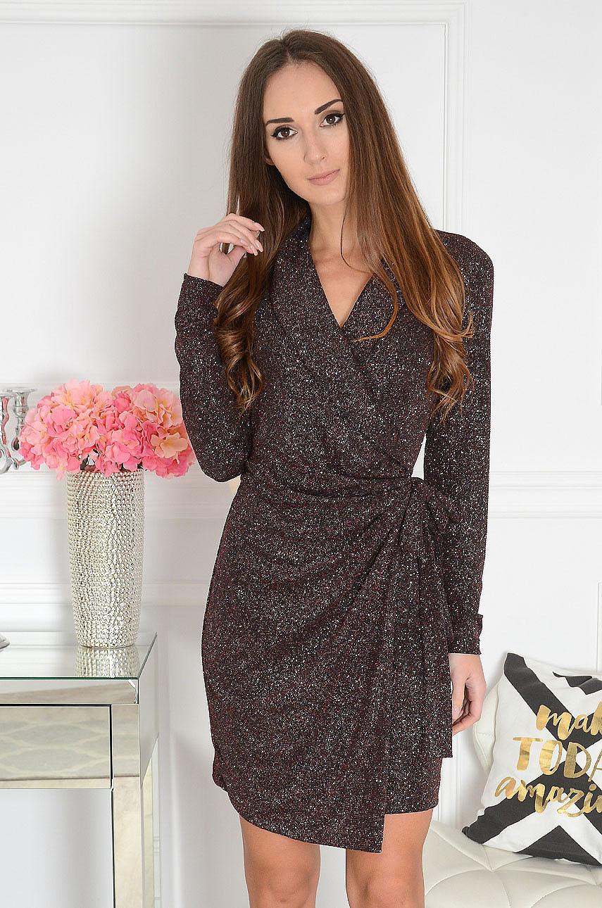 Sukienka brokatowa kopertowa burgund Cameron Rozmiar: XS