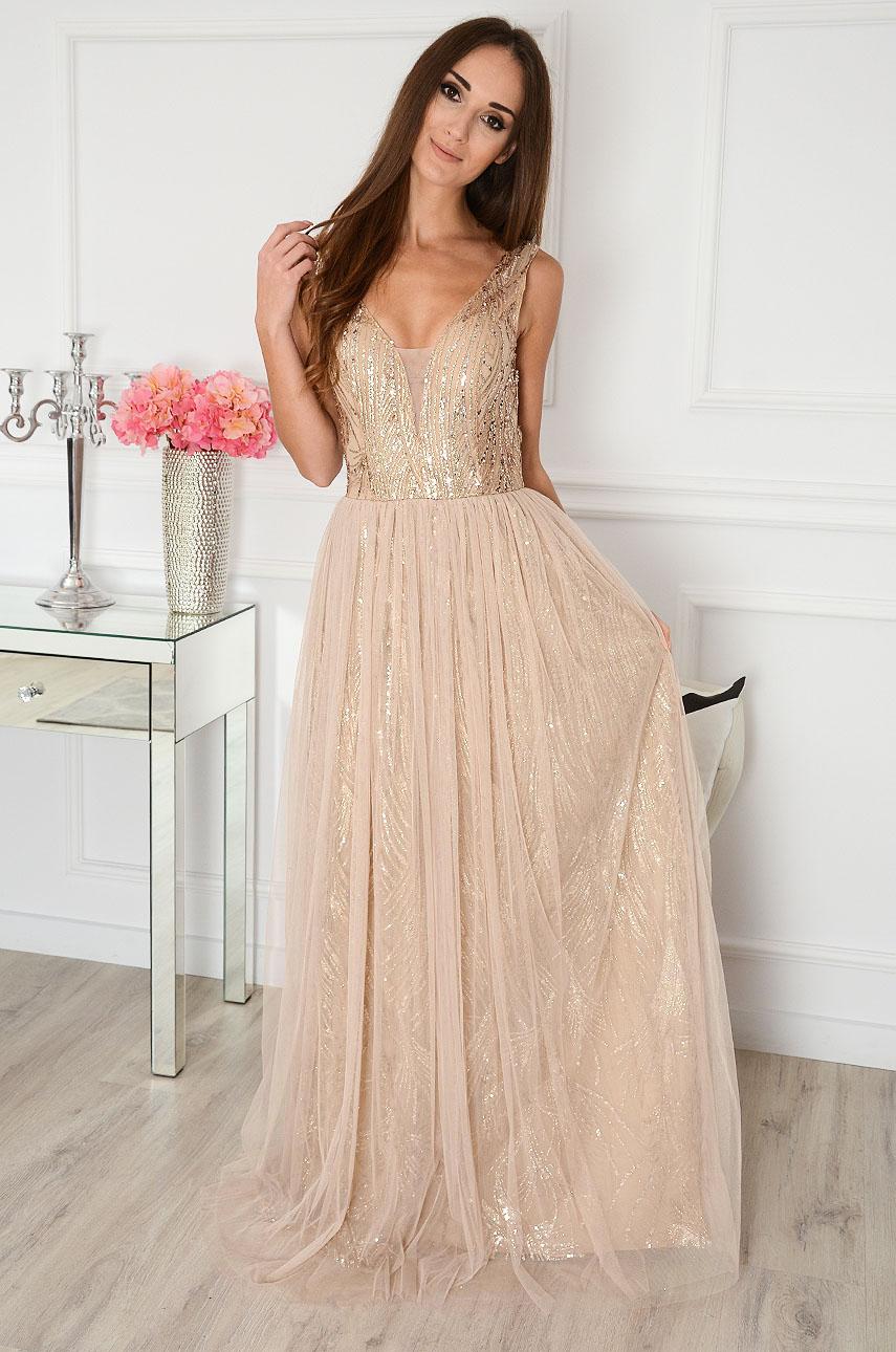 Sukienka maxi z tiulem beżowo-złota Jenner Rozmiar: L