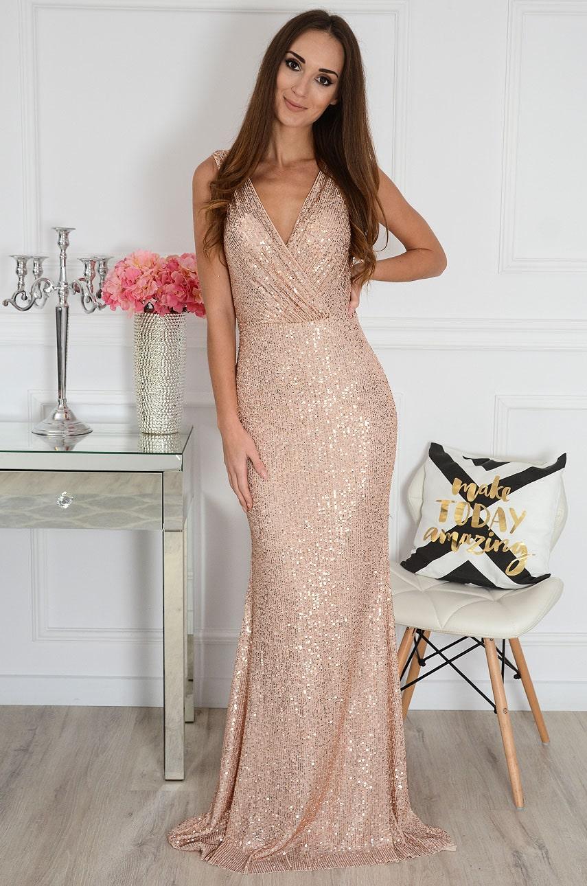 Sukienka maxi cekinowa podwójny dekolt V różowe złoto Vasey Rozmiar: M