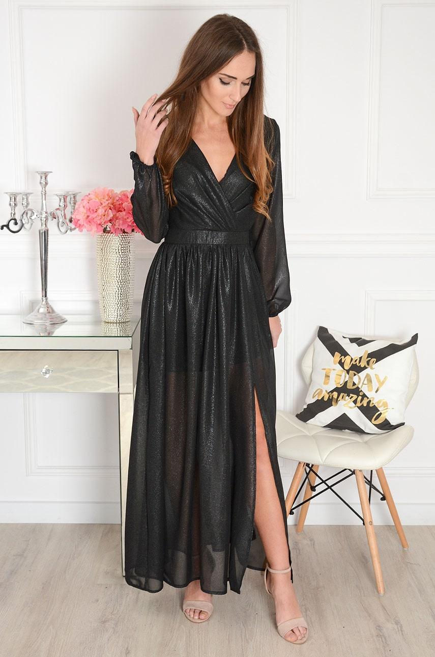 Sukienka maxi szyfonowa błyszcząca czarna Rosella Rozmiar: S