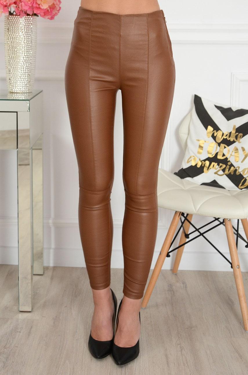Spodnie legginsy woskowane z przeszyciami kamel Pony Rozmiar: XS