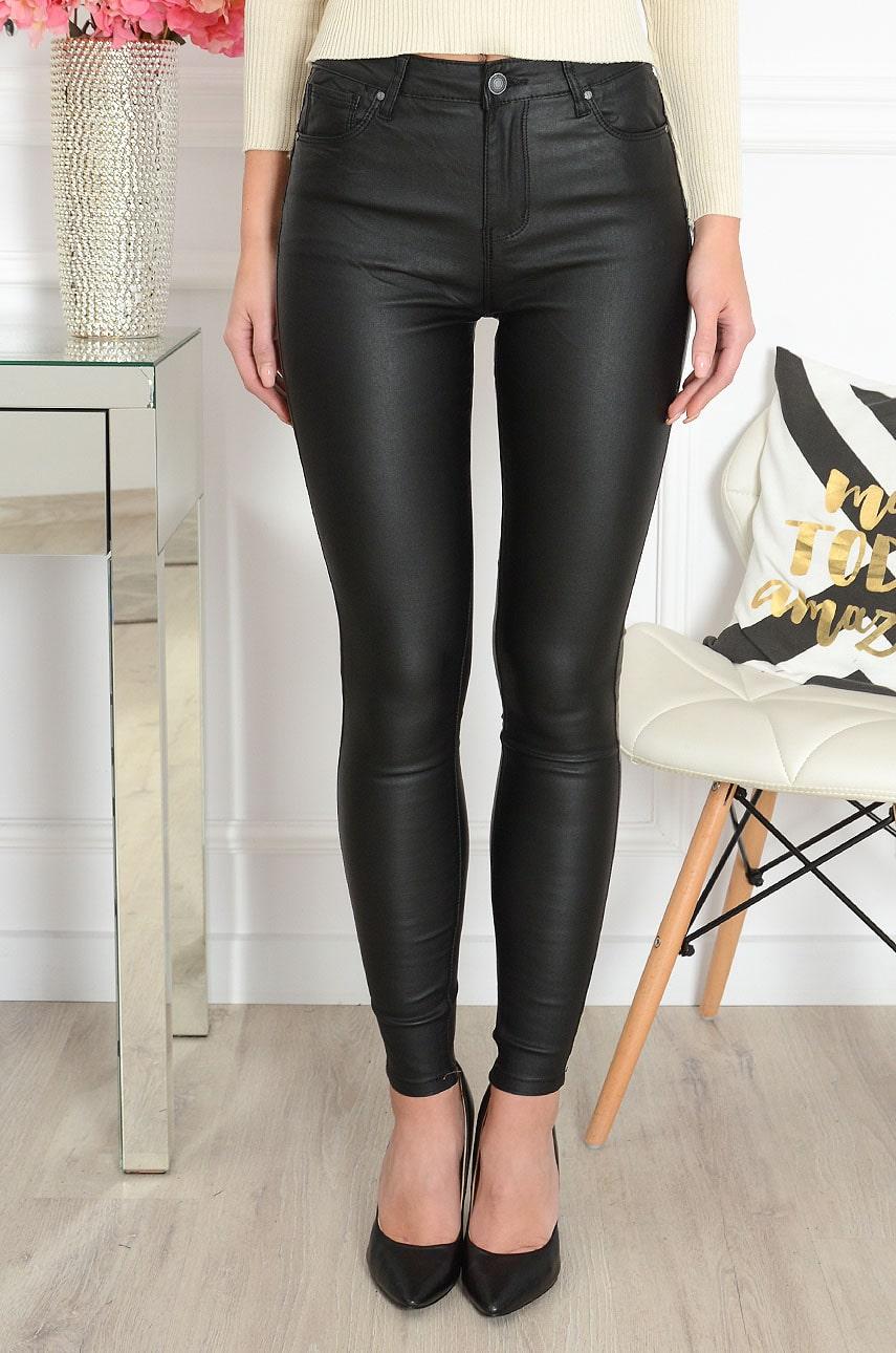 Spodnie rurki woskowane push up czarne Lennox Rozmiar: XS