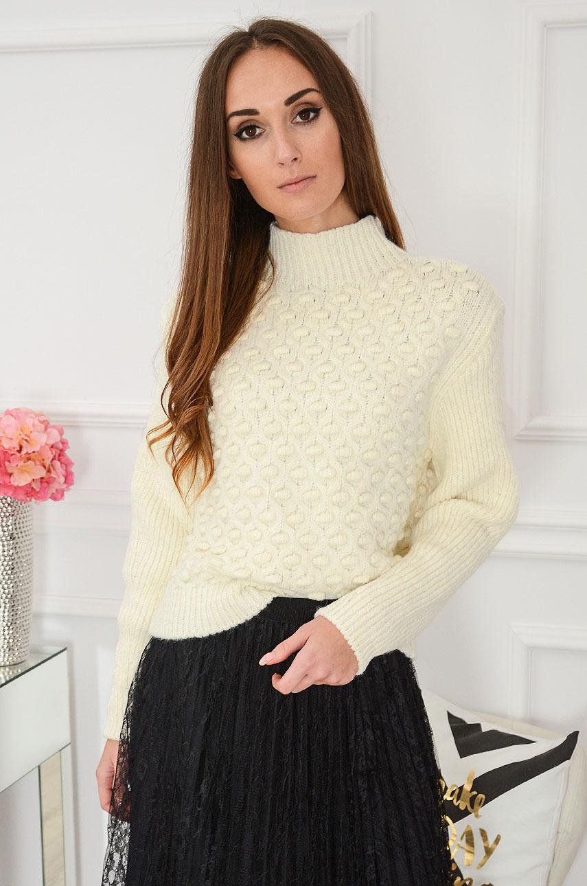 Sweter wytłaczany z półgolfem grochy 3D kremowy Evan Rozmiar: UNI